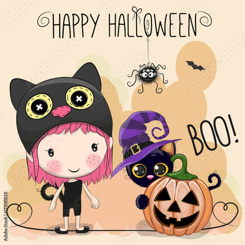 Halloween card with girl and cat