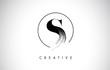 S Brush Stroke Letter Logo Design. Black Paint Logo Leters Icon.