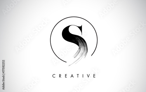 Poster S Brush Stroke Letter Logo Design. Black Paint Logo Leters Icon.