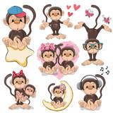 Cute Cartoon Monkeys Wall Sticker