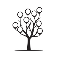 Black Tree with Borders Vector Illustration.