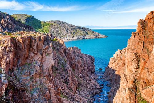 Staande foto Lavendel beautiful mountain landscape, red rocks, beautiful sea, blue sky