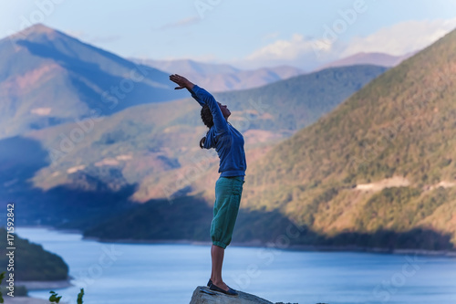 Fotobehang School de yoga woman yoga in the mountains