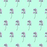 Watercolor seamless pattern, floral background. Green leaves and violet flowers.