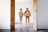 Young couple moving ...