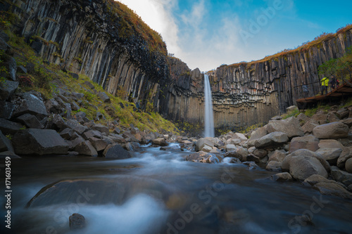 Svartifoss waterfall in Skaftafell national park in Iceland, Famous Svartifoss waterfall. Another named Black fall. Located in Skaftafell. - 171603459