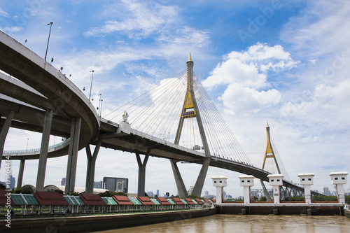 View landscape and cityscape of Amphoe Phra Pradaeng at Bhumibol Bridge with Cha Poster