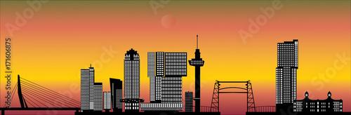 Fotobehang Rotterdam rotterdam skyline with hotel, landmarks erasmusbridge and modern architecture during sunset