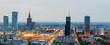 Panorama of Warsaw at dawn