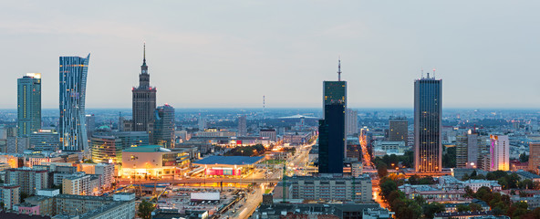 Panorama of Warsaw at dawn