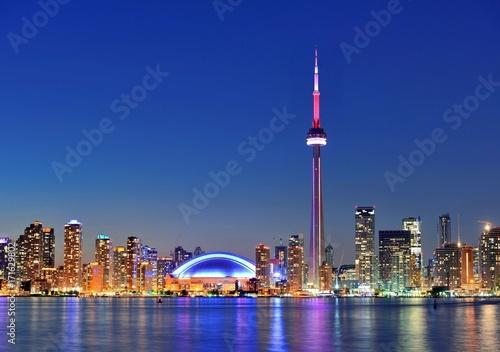 Spoed canvasdoek 2cm dik Toronto PANORAMA TORONTO BEI NACHT