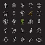 Tree types chalk icons set