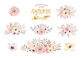 Set of watercolor boho floral bouquets. Watercolour bohemian natural frame: leaves, feathers, flowers, Isolated on white background. Artistic autumn decoration illustration. - 171646230