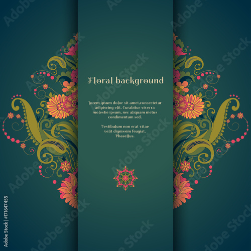 Vector card. Beautiful floral damask pattern in vintage style. Place for your text. Perfect for greetings, invitations or announcements. Bright colors and dark background. - 171647455