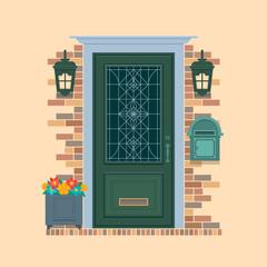 Elements of architecture , front door background.Bouquet flowers in front of house door.Flat vector illustration