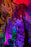 Colourful Reed flute cave in Guilin China. - 171659614
