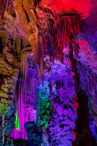 Fotobehang Guilin Colourful Reed flute cave in Guilin China.