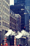 Manhattan street with steam