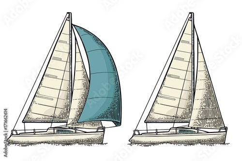 Fototapeta Two sailing yacht. Sailboat. Vector drawn flat illustration