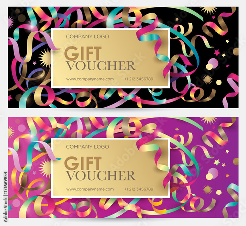 gift coupon with colorful ribbons serpentine and glitter christmas