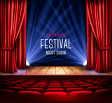 A theater stage with a red curtain and a spotlight. Festival night show poster. Vector. - 171687669