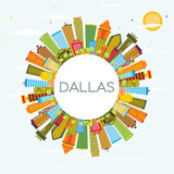 Fototapety Dallas Skyline with Color Buildings, Blue Sky and Copy Space.
