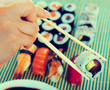 Sushi set in restaurant