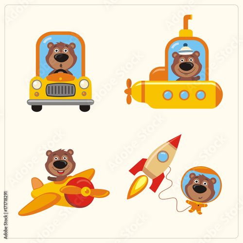 Set of funny Teddy Bears in various transport: airplane, submarine, car, space rocket. Collection of isolated Teddy Bear in transport in cartoon style.