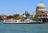Island called Lido of Venice in Italy and the passenger ferry bo