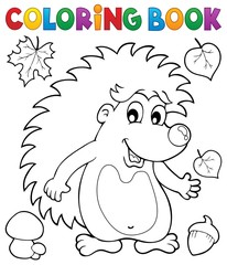 Coloring book hedgehog theme 1