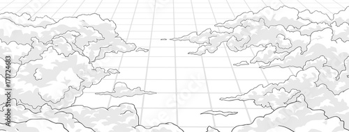 Illustration of clouds from high angle with perspective - 171724683