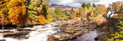 Poster  uk, island, destination, loch, white, river, autumn, trees, scenery, scotland, perth, tourist, stirling, rapids, fall, sky, scenic, beautiful, background, water, nature, scottish, landscape, killin,