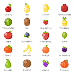 Fresh fruit healthy food natural vitamins cartoon lineart flat design isolated icons set vector illustration