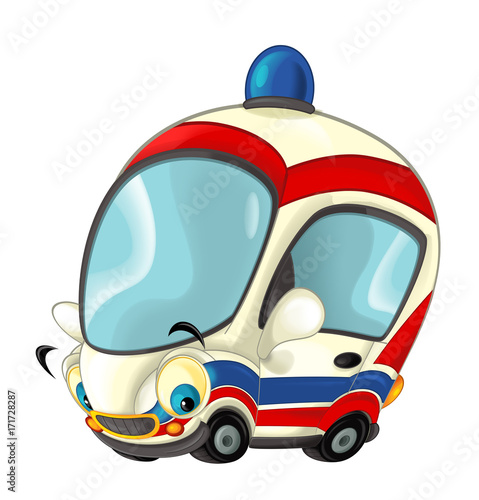 Cartoon happy and funny ambulance car - isolated illustration for children - 171728287