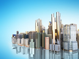 panorama cityscape modern high-rise buildings panorama of the central part of the city 3d rendering on blue