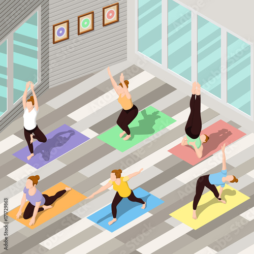 Poster Isometric Yoga Background