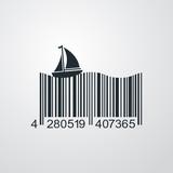 Icono plano codigo de barras velero en fondo degradado - 171730070