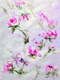 Hand painted modern style Pink and Red flowers. Spring flower seasonal nature background. Oil painting floral texture - 171730418