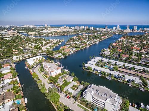 Foto op Plexiglas Kiev Aerial view of Fort Lauderdale Las Olas Isles, Florida, USA
