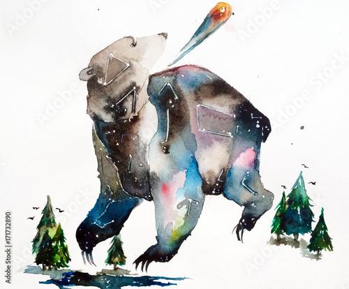 space bear. watercolor illustration. meteorite - 171732890