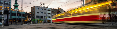 Plagát Blurred tram in the center of Bratislava, Slovakia