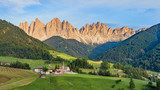 Geisler or Odle mountain peaks in the Dolomites at the Golden Hour, Italy, HDR