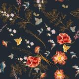 Elegant vector pattern with field flowers  in vintage style - 171754030