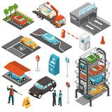 Isometric Car Parking Icon Set - 171758226