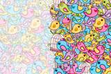 Birds summer or spring concept. 3d cartoon doodles background design. Hand drawn colorful vector illustration.