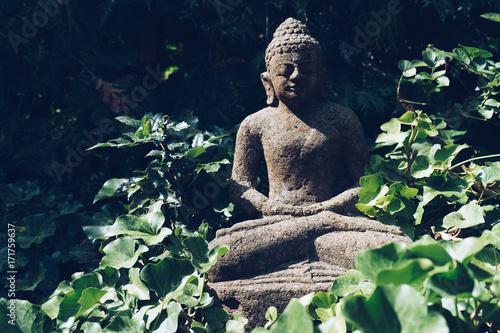 Foto op Canvas Boeddha Buddha sculpture on green nature