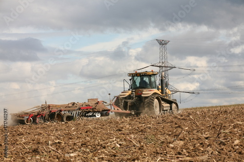 tractor in field Poster