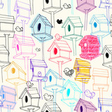 Seamless pattern with colorfil birdhouse on background. Colorful hand-drawn bird houses in line style with scribble textures. Illustration for fabric print, wallpaper, wrapping paper, backdrop.