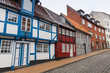 Colorful living houses. Flensburg city, Germany