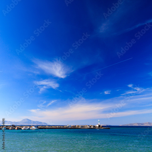 Foto op Aluminium Donkerblauw Beautiful seascape with port and mountains.